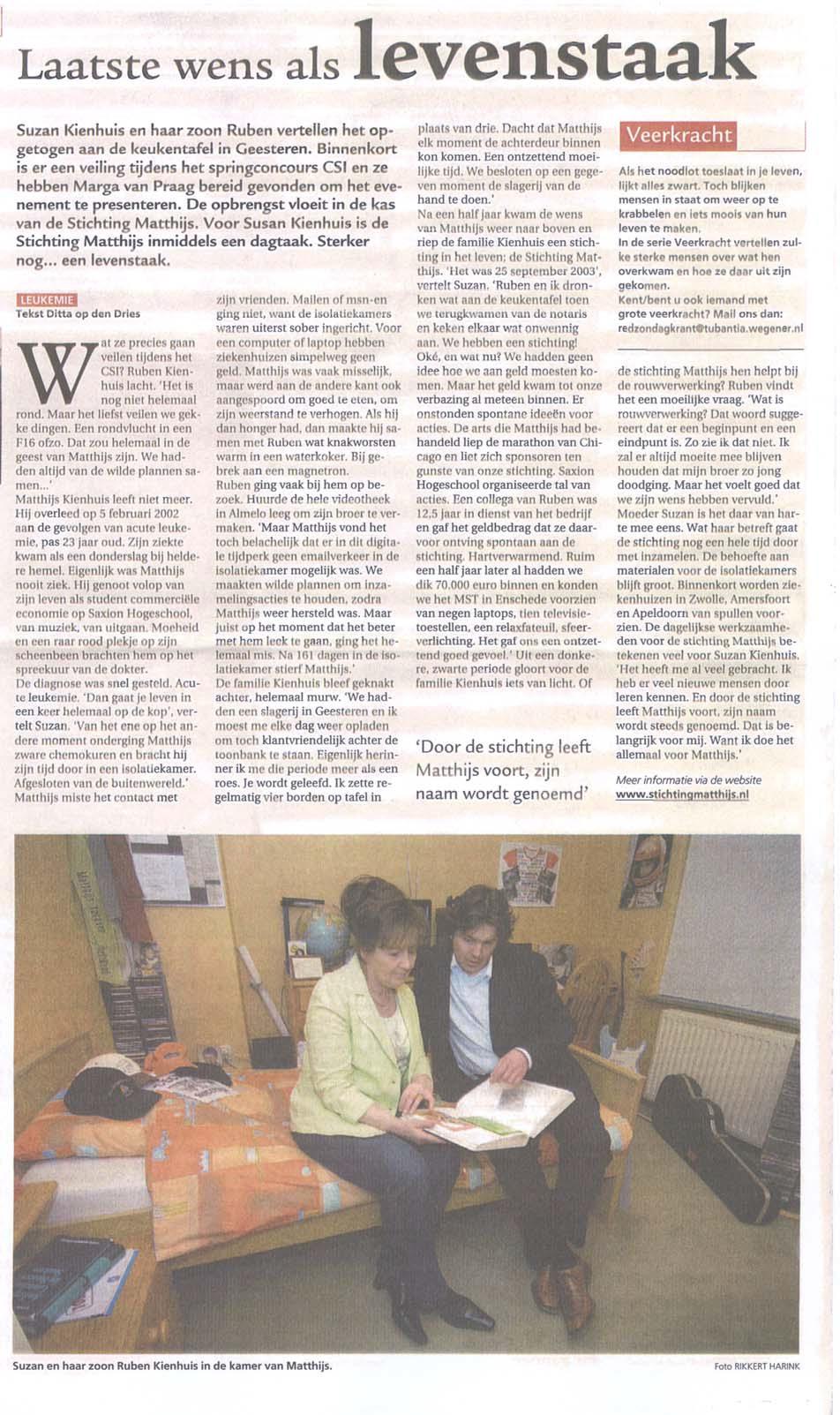 Persbericht 2006 - laatste wens als levenstaak